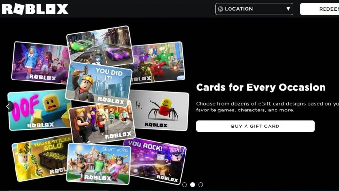 Roblox gift cards